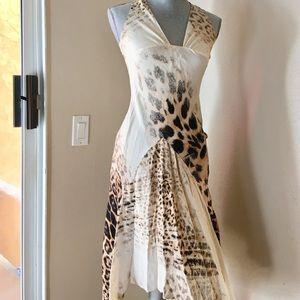 Roberto Cavalli silk leopard animal print dress